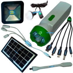 Kit Panel Solar Linterna Portatil Camping Usb Bombillo Lampara