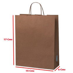 12 Bolsas Papel Kraft 120 Gr 17x15x6 Cm Biodegradable Ecologica