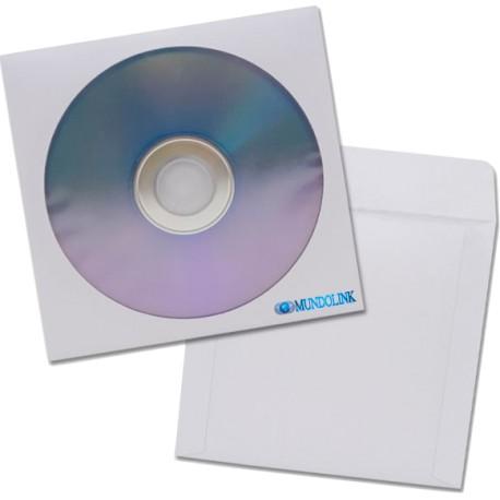 Sobre Solapa Papel Blanco Cd Dvd Con Ventanilla