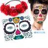 Tatuaje Temporal Catrina Halloween Y Corona Flores Tiara Rosas