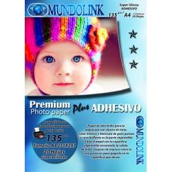 Papel Fotográfico Brillante Adhesivo Stiker 20 Hojas Tam A4 210X297 mm