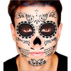 Tatuaje Temporal Catrina Halloween Disfraz Dia De Los Muertos Calavera