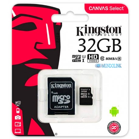 Memoria Micro Sd 32 Gb Kingston Clase 10 Velocidad Transf 80 Mb