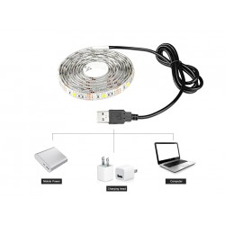 Cinta 60 Luces Led Usb 5v Luz Blanca 2 Mts 5050 Ip20 No Agua