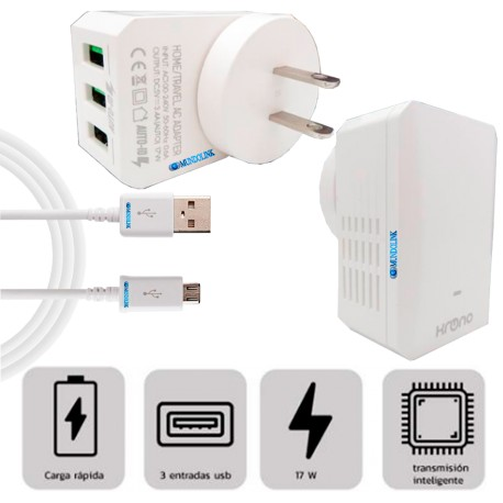 Cargador Celular Pared 3 Puertos Usb Cable Micro Carga Rapida