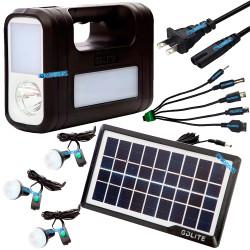 Kit Panel Solar Portatil 3 Bombillas Camping Usb Linterna