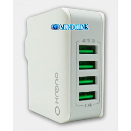 Cargador Celular Pared 4 Puertos Usb Cable Micro Carga Rapida