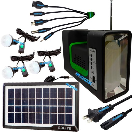 Kit Panel Solar Camping 3 Bombillas Usb Radio Mp3 Linterna
