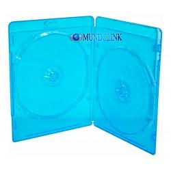 Estuche Azul Cd Dvd Blu Ray Plastico 2 Discos Doble Bandejas